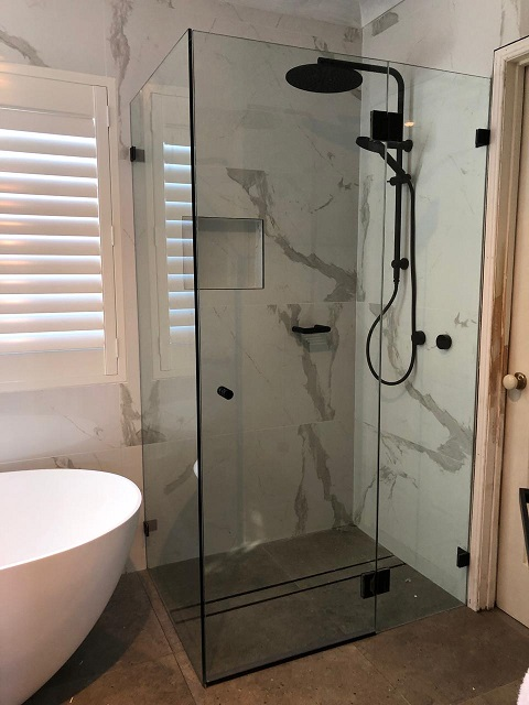 Matt Black Frameless shower screen